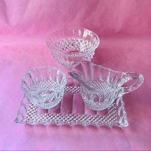 Vintage crystal tray with sauce pitcher
